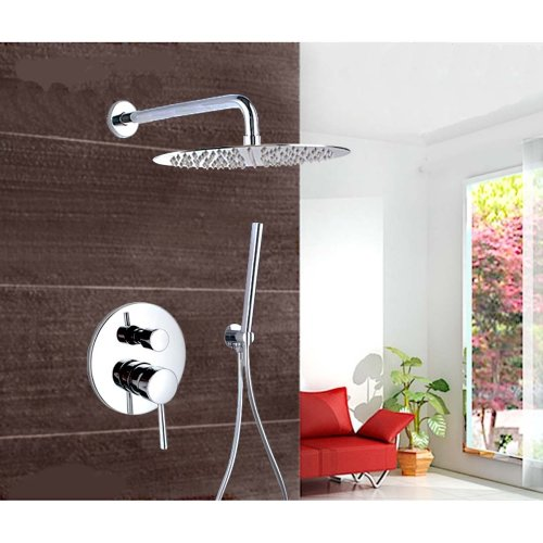 LightInTheBox Chrome Wall Mount Concealed Shower Set Concealed Shower Faucets 10 Inch Rainfall Round Shower Head Bath Tap Mixer (Shower Head Strainer compare prices)