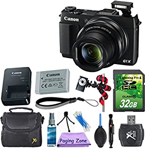 Canon PowerShot G1 X Mark II Digital Camera - Wi-Fi Enabled with 32GB Memory Card + Gorillapod Tripod + Rubber Air Blower Pump Dust Cleaner + Lens Cleaner + Point and Shoot Camera Case + Cleaning Kit