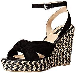 FRYE Women\'s Charlotte Twist Ankle Espadrille Wedge Sandal, Black, 9 M US