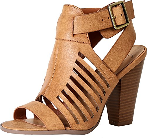 Delicious By Soda Yummy Cutout Stacked Heel Sandal,Tan Pu,10 (Sandals By Soda compare prices)