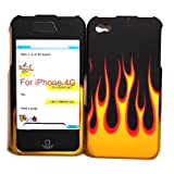 Black with Yellow Flame Rubberized Snap on Hard Skin Shell Protector Cover Case for Apple Iphone 4 4g + in Blister Retail Package