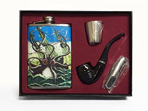 Vintage Kraken Deluxe 9oz Flask Gift Set Includes Black Pipe Utility Pocket Knife & Stainless Steel Shot Glass