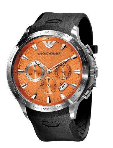 Emporio Armani Sports Collection AR0652 - Reloj analógico de cuarzo para hombre, correa de goma color negro (cronómetro)