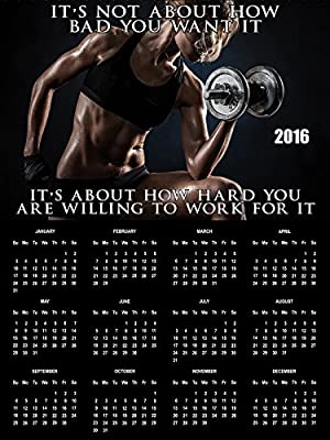 2016 Workout Calendar Poster Fitness Calendar Workout Inspiration 18x24