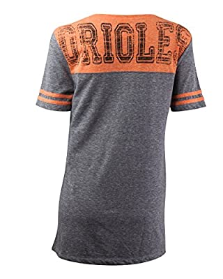 MLB Baltimore Orioles Oversized Top with Contrast Yoke and Split Henley