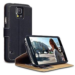 Terrapin Leder Tasche Case Hülle im Bookstyle mit Standfunktion Kartenfächer für Samsung Galaxy S5 Schwarz