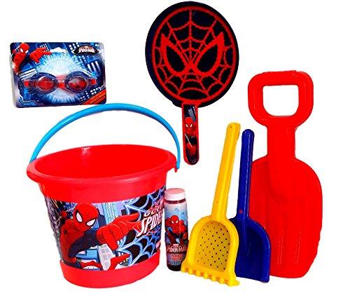 Spider-Man Fun in The Sun; Spider-Man Bucket, Swim Goggles, Sand Toys, & Spiderman Bubbles with Spidey Bubble Maker