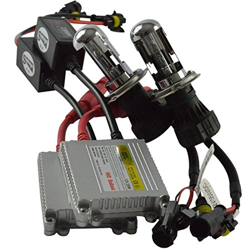 Safego H4 HID Bi-Xenon Conversion Kit 6000K H4-3 Bixenon HID Hi/Lo Telescopic Bulbs with HID Slim Ballast 35W