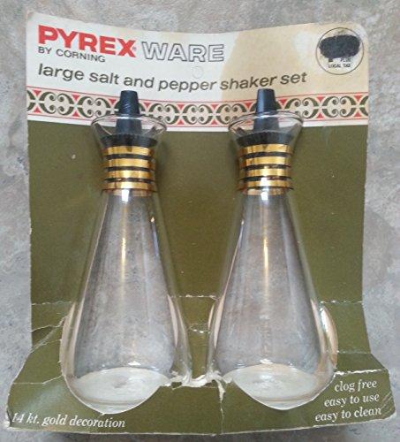 """Vintage Pyrex Ware Corning Glass 6"""" Large Salt & Pepper Shaker Set 14 Kt. Gold Decorations"""