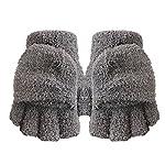 Healthy Clubs Damen Winter Warm Fingerlose Handschuhe aus Plüsch Fingerfrei mit Klappe