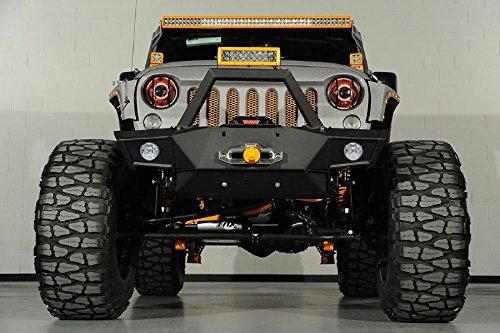 GSI-07-16-Jeep-Wrangler-JK-Black-Textured-Super-Rock-Crawler-Front-Bumper-w-OE-Fog-Lights-Hole-2x-D-Ring-Winch-Plate