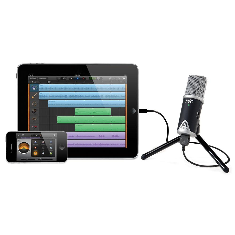 hook up mic to iphone Apogee mic plus for ipad, iphone, mac and windows usb cardioid microphone for ios devices with mini tripod, mic stand adapter, and adapter cables included.