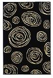 Black and Cream White Contemporary Swirl Rug R127002 (4'11 x 7'6)