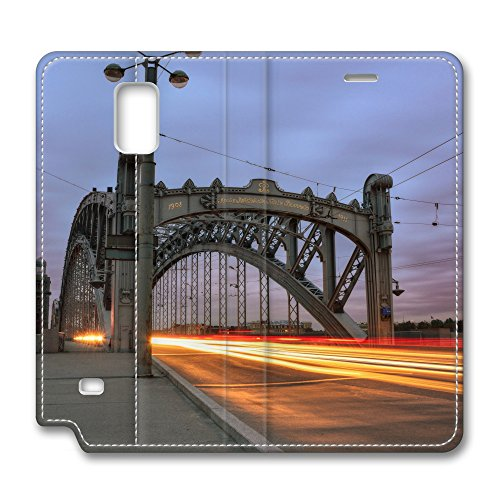 Samsung Galaxy Note 4 Leather Case Fashion Hot Peter The Great Bridge St Petersburg Russia PU Leather Galaxy Note 4 Cover [Flip Cover] with Foldable Stand Protective Leather Case Cover for Samsung Galaxy Note 4 promo code 2016