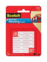 Scotch Foam Mounting Removable Squares, 1/2 x 1/2 Inch, 64 Squares, 6-PACK
