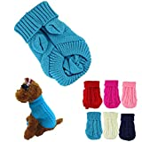 HP95 Hot! Pet Dog Cat Winter High Collar Warm Knitted Sweater Knitwear Clothes for Dogs Puppy (6 - Blue)