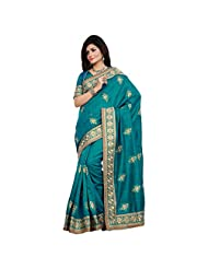 Glorious Green Colored Embroidered Bhagalpuri Silk Saree By Triveni