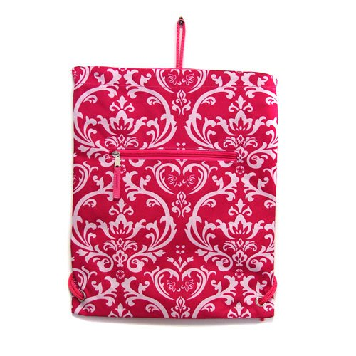 Damask Floral Fuchsia Drawstring Cinch Backpack