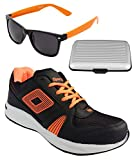 Spot On Men's Black Orange Running Shoes With Lotto Sunglasses And Cardholder Combo UK-7