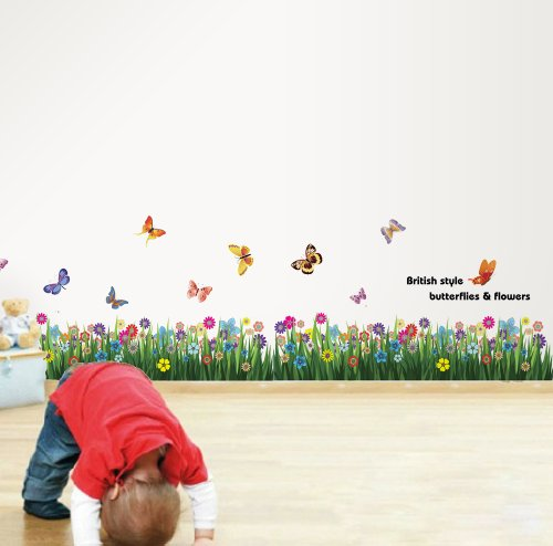 Walplus WS3031 Colourful Butterflies Flower Baseboard Wall Stickers, Mixed Color