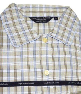 Lloyd Attree & Smith - chemise de nuit homme, doux et confortable - 100% coton - carreaux bleu / beige / marron (XL)