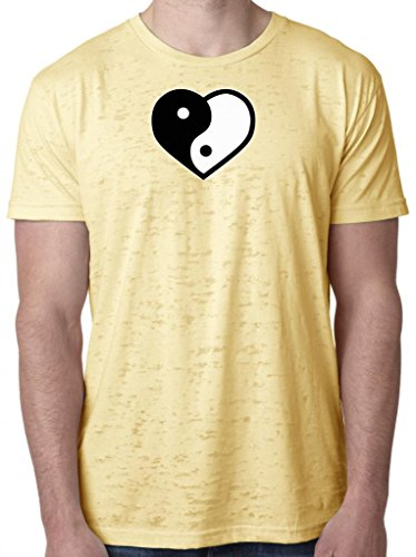 Mens Yin Yang Heart Burnout Tee, Medium Banana