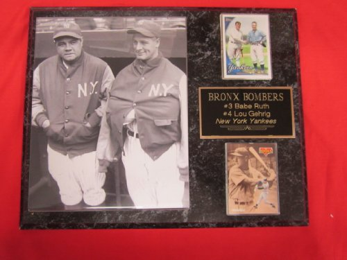 New York Yankees Lou Gehrig Babe Ruth 2 Card Collector Plaque #4 w/8x10 RARE DUGOUT JACKETS Photo at Amazon.com