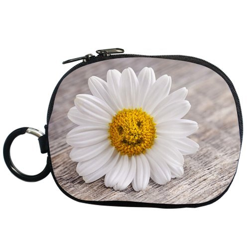 Generic Personalized Pure White Daisy Flower And Smile Face Flower Bud For Coin Purse (Two Side)