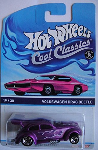 HOT WHEELS COOL CLASSICS SPECTRAFROST PURPLE VOLKSWAGEN DRAG BEETLE ON PINK CARD CAR VERSION - 1