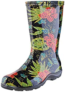 "Sloggers Women's  Rain and Garden Boot with ""All-Day-Comfort"" Insole, Midsummer Black Print - Wo's size 8 - Style 5002BK08"