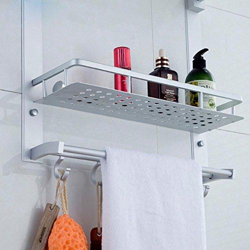 BBSLT-Portasciugamani, alluminio di spazio rack asciugamano, mensole, doppia doccia, bagno accessori hardware , 62cm