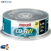 CD-RW 700MB 4x Rewritable Recordable Disc Spindle Pack Of 25 And Free 6 Feet Netcna HDMI Cable - By NETCNA