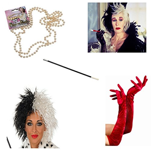 NeonCandyUK Big Girls' Cruella De Ville Costume Fancy Wig Cigarette Holder Gloves One Size Red (Cruella Deville Cigarette Holder compare prices)