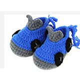 Blue-gray Color Hand-knit Wool With Baby Shoes Baby Toddler Soft Shoes Double Sole One Hundred Days Baby Shoes... - B01A9JZ2EU