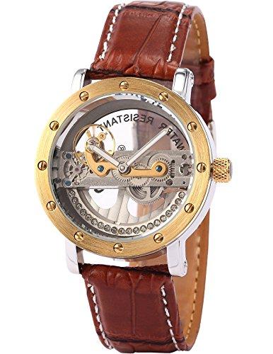 AMPM24 PMW151 メンズ ラグジュアリー スチームパンク アナログ ブラウン レザー 自動機械式 スケルトン腕時計
