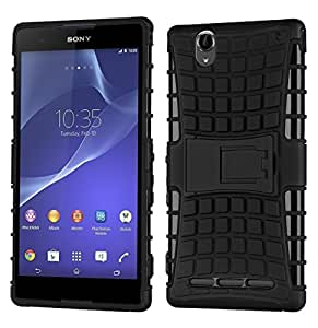 Dashmesh Shopping Hybrid case for Sony Xperia T2, Shock Proof Protective Rugged Armor Super Hybrid Heavy Duty Back Case Cover for Sony Xperia T2 - Rugged B- Rugged Black Color Color