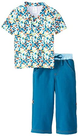 Zutano Little Boys' Digital Polo Shirt and Boardwalk Pant Set, Multi, 2T