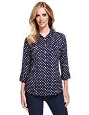 M&S Collection Pure Cotton Spotted Shirt