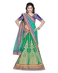 Khodiyar Creation Women's Silk Lehenga Saree (Green)