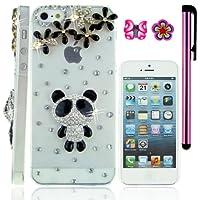 USA FiMeney Iphone 5s/5 用保護ケース 立派クリスタル花 ラインストーン 透明デコケース パンダ シンプル&ランダムデザイン 桜と蝶のピアス一個ずつとスタイラスペン一つ付き