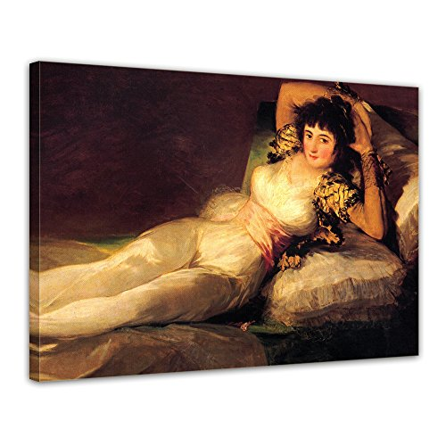 "Bilderdepot24 Leinwandbild Francisco de Goya - Alte Meister ""Die bekleidete Maja"" 70x50cm - fertig gerahmt, direkt vom Hersteller"