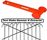 Tent Peg Hammer Mallet With Peg Remover/Extractor - 10 Inch Rust Resistant Peg Driver - For Outdoors, Camping, Bungees, Tie Downs, Tarp Clips & Rope - By Katzco