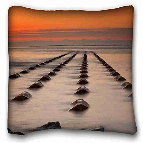 """Generic Personalized ( Landscapes sea sunset landscape ) Pillowcase Standard Size 16""""X16"""" Design Pillow Case Cover suitable for Full-bed PC-Green-5926"""