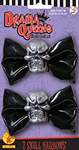 Drama Queens Black Hair Bows with Skulls Halloween Accessory by Rubies