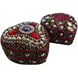 Heart Shape Jewelry Box Handmade Indian Decorative Storage Case Vintage Style Gift Ring Box Red Traditional Case...
