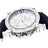 JOJINO Real Diamond Watch Chronograph Mens Silver Case Black Rubber Band MJ-1130
