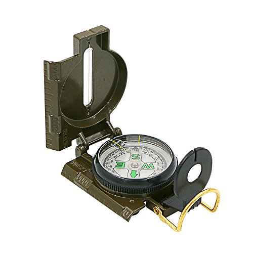 Hiking Compass, Bukm Field Military Marching Army Outdoor Camping Survival Climbing Biking Lensatic Metal Sighting Compass with Foldable Metal Lid
