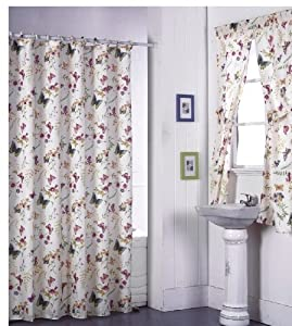 Amazon.com - Butterfly Floral Bathroom Shower Curtain with ...