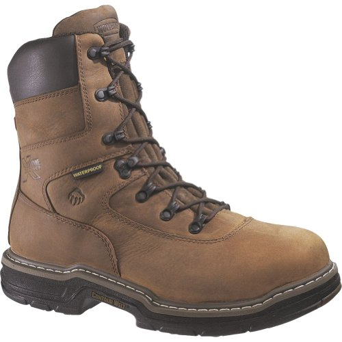 "Men's Wolverine 8"" 400 grams of Thinsulate Ultra Insulation Marauder MultiShox Waterproof Steel Toe Boots Brown"