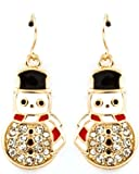 Super Cute 1 Crystal Embellished Dangling Snowman Charm Earrings for Winter and Christmas - Gold Tone